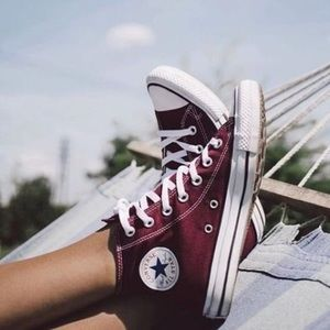 Converse Shoes - Maroon converse high tops 541bb3bd0152